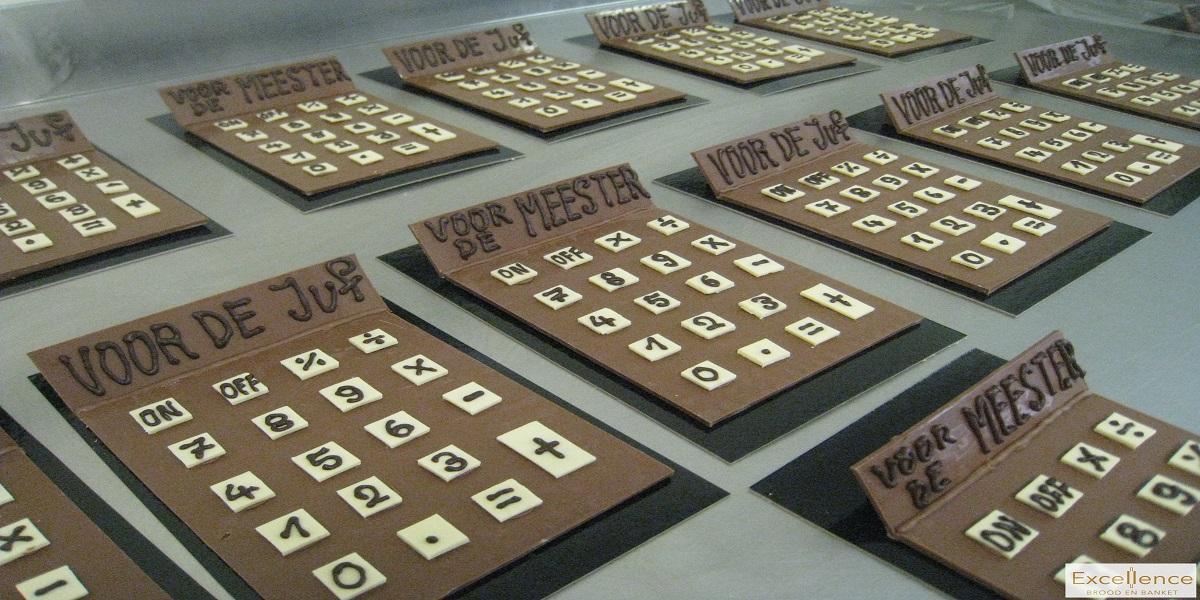 rekenmachine in chocolade voor de juf - voor de meester